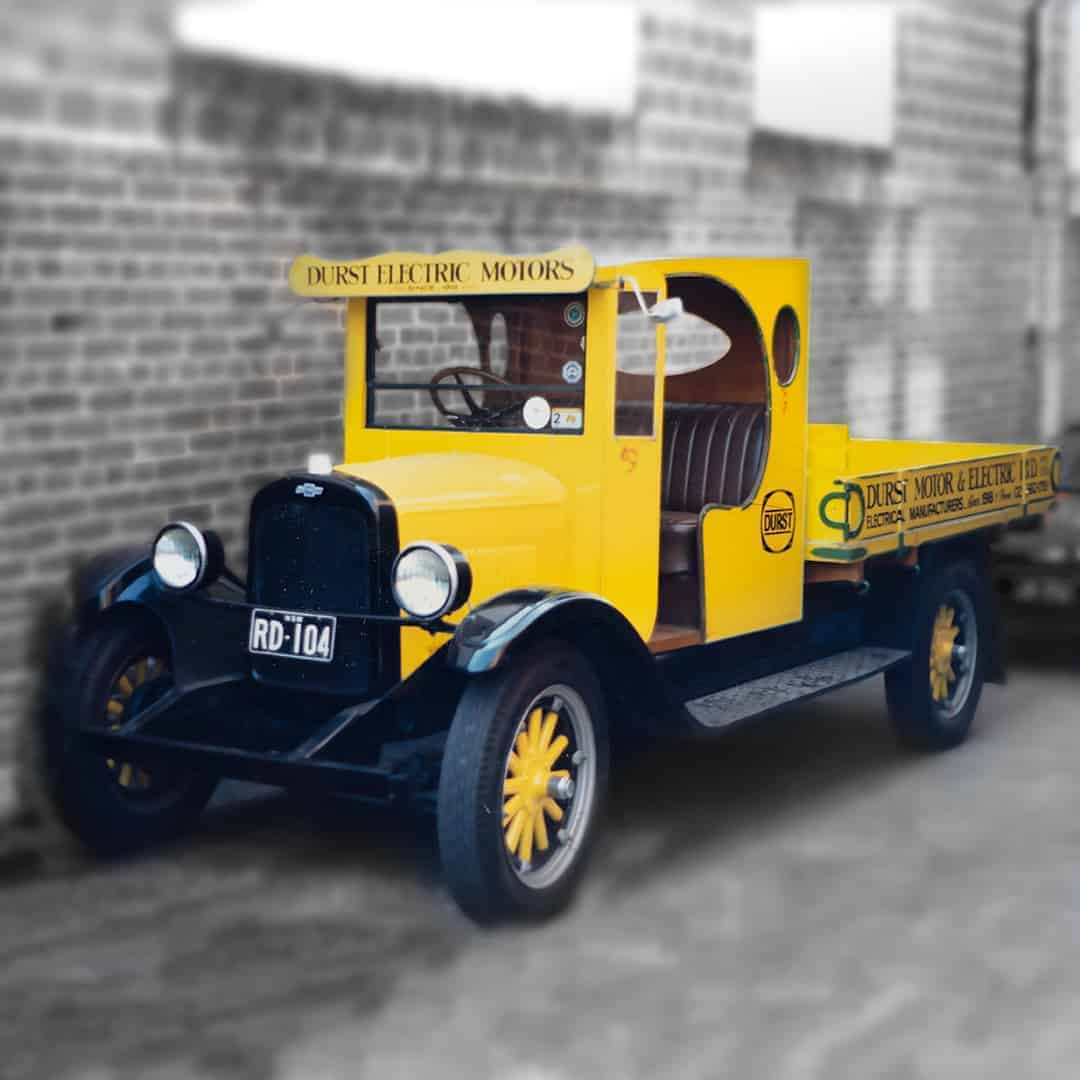 The original Durst delivery truck used to deliver Vince Russell's Peanut and Wholenut Butter Mills