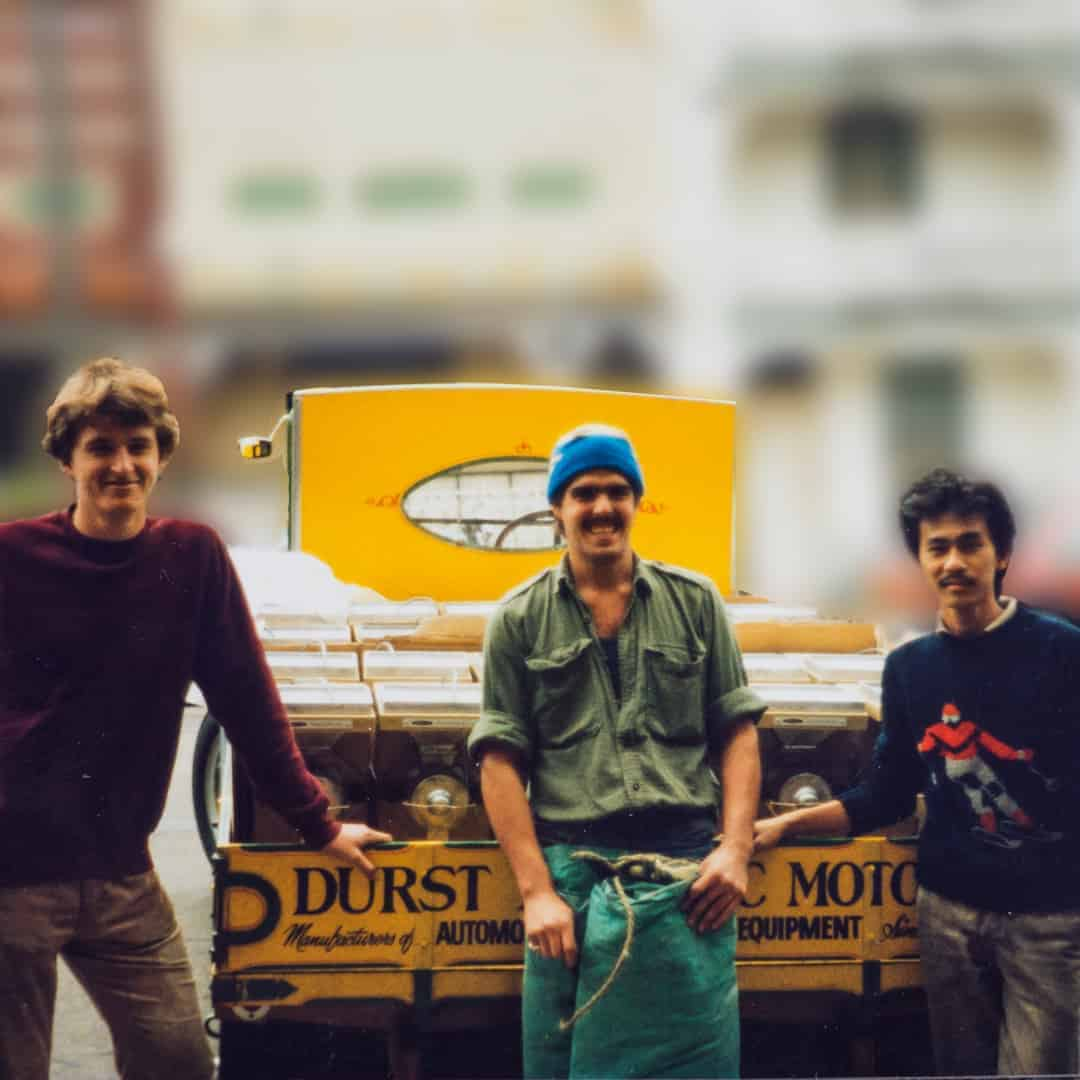 The original Durst delivery team delivering Vince Russell's Peanut and Wholenut Butter Mills.